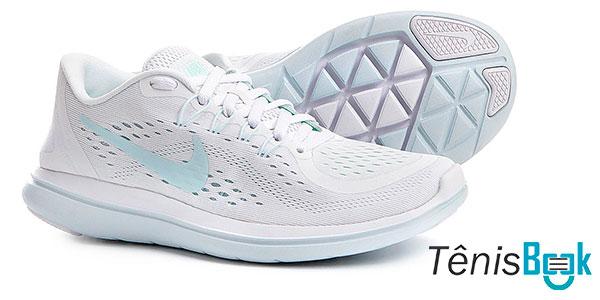 Nike Flex 2017 RN Branco e Azul Feminino