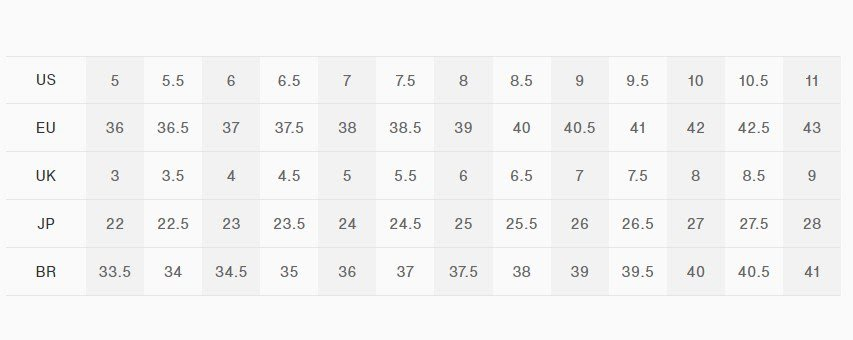 tabela de tamanho numeração tênis On Running feminino