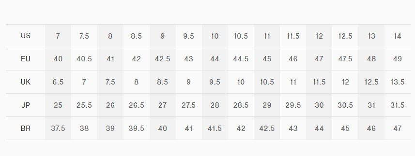 tabela de tamanhos tênis On Running masculino